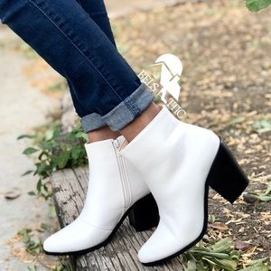 Western White Ankle Booties Vegan and stacked Heel